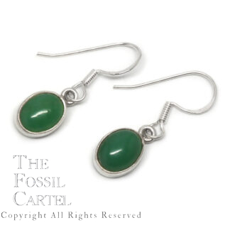 Chrysoprase Oval Sterling Silver Earrings
