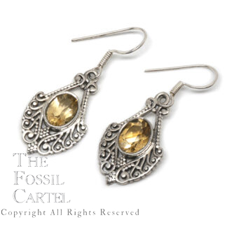 Citrine Oval Decorative Sterling Silver Earrings