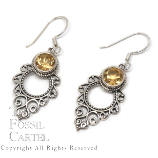 Citrine Round Decorative Sterling Silver Earrings