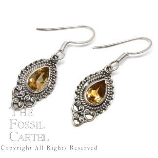 Citrine Teardrop Decorative Sterling Silver Earrings