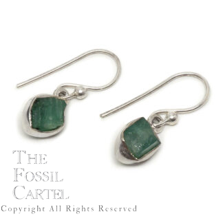 Emerald Rough Sterling Silver Earrings