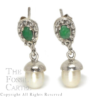 Emerald and Pearl Sterling Silver Earrings