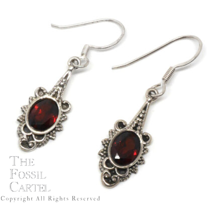 Garnet Oval Sterling Silver Decorative Earrings