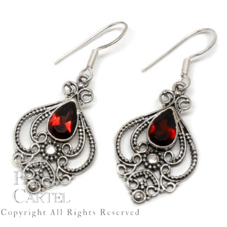 Garnet Teardrop Decorative Sterling Silver Earrings