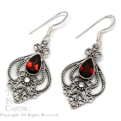 Garnet Teardrop Decorative Sterling Silver Earrings