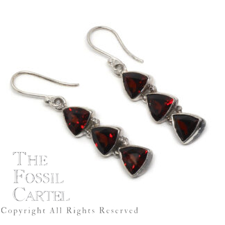 Garnet Trillion Sterling Silver Earrings
