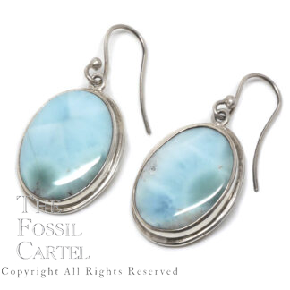 Larimar Oval Sterling Silver Earrings