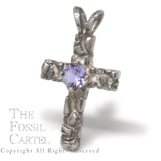 Mt. St. Helens Twilight Obsidianite Sterling Silver Cross Pendant