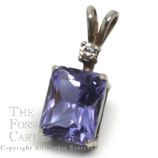 Mt. St. Helens Twilight Obsidianite Emerald Cut Sterling Silver Pendant with CZ