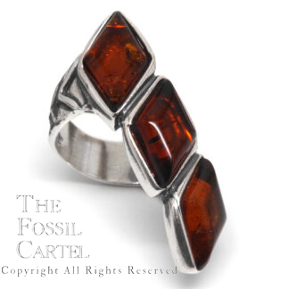 Amber Triple Stone Sterling Silver Ring; Size 7 1/2