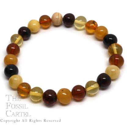 Amber Round Bead Stretch Bracelet