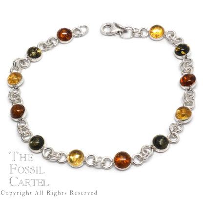 Amber Multi-Colored Sterling Silver Bracelet