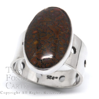 Dinosaur Bone Oval Sterling Silver Ring