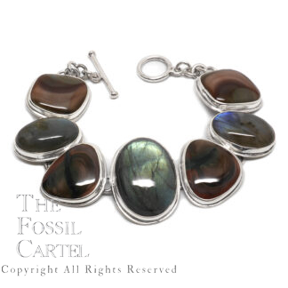 Labradorite and Morrisonite Sterling Silver Bracelet