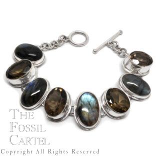 Labradorite and Smoky Quartz Sterling Silver Bracelet