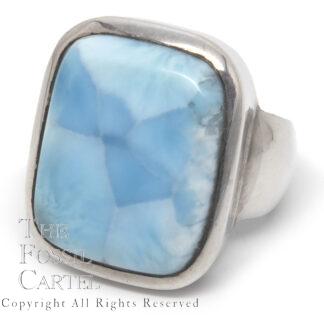 Larimar Rectangular Cabochon Sterling Silver Ring; Size 8