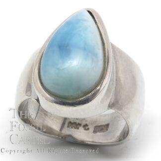 Larimar Teardrop Cabochon Sterling Silver Ring; Size 6