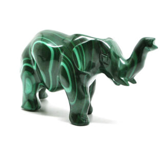 A polished malachite elephant figurine against a white background