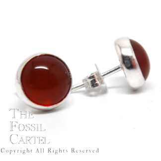 A pair of dark orange carnelian agate circular cabochons set in in sterling silver earring studs against a white background