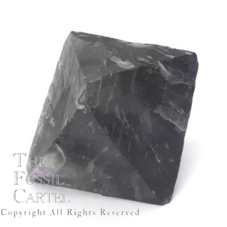 A large purple fluorite octahedron against a white background