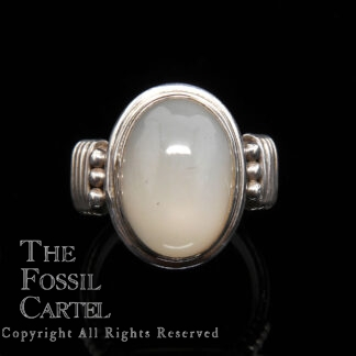 A sterling silver ring set with an oval moonstone against a black background