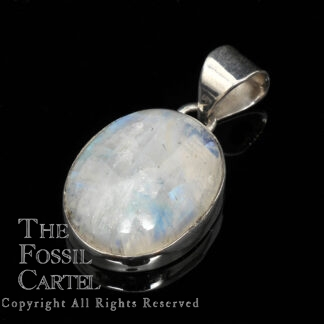 A sterling silver pendant set with an oval rainbow moonstone against a black background
