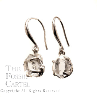 A pair of clear natural Herkimer diamonds prong-set in sterling silver earrings against a white background