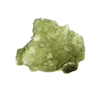 A piece of rough green moldative against a white background