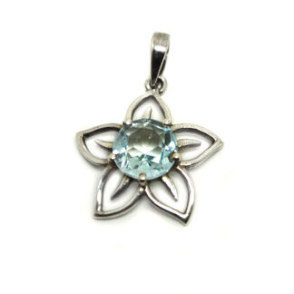 A round faceted blue topaz gemstone set in a sterling silver flower pendant against a white background