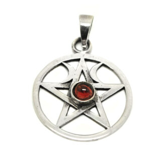 A sterling silver pendant featuring a pentacle design with two moons on each side, accented by a round garnet cabochon, against a white background