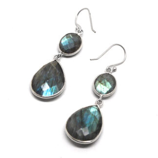 A pair of sterling silver earrings with faceted round labradorite cabochons at the top with faceted teardrop labradorite cabochons linked at the base against a white background