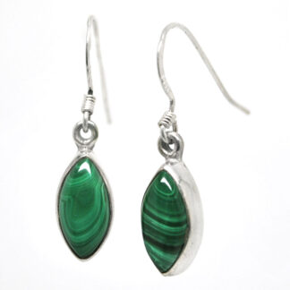 A pair of marquise shaped sterling silver malachite earrings against a white background