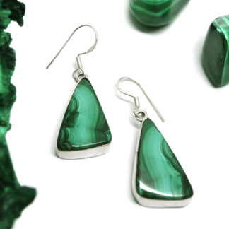 A pair of triangular sterling silver malachite earrings against a white background