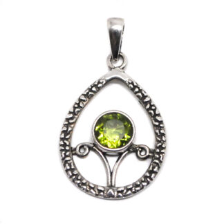 A round faceted peridot gemstone set into a intricate sterling silver pendant against a white background