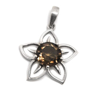 A sterling silver flower shaped pendant featuring a round-faceted smokey quartz gemstone against a white background