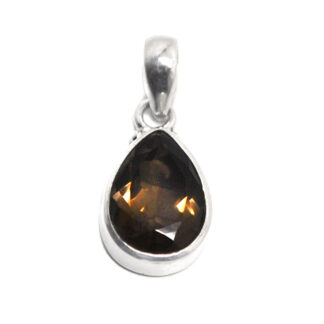 A sterling silver pendant set with a faceted smokey quartz teardrop gemstone against a white background