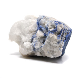 A cluster of white quartz with dumortierite inclusions against a white background