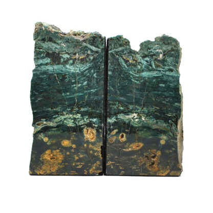 A pair of deep green Hampton Butte petrified wood book ends against a white background