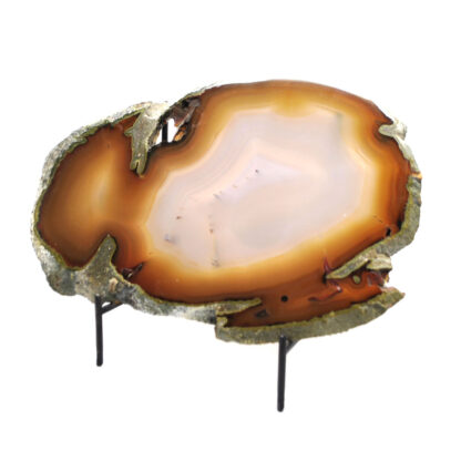 A medium orange agate slice propped up with a wrought iron stand against a white background