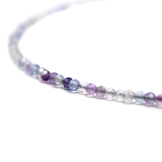 A fluorite microbead necklace against a white background