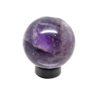 A small amethyst sphere on a black acrylic ring stand against a white background