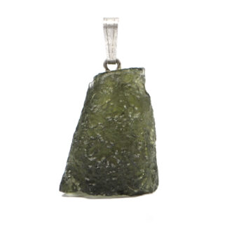 A rough moldavite pendant with a simple sterling silver bail against a white background