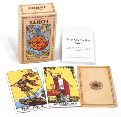 A tarot deck with original rider-waite illustrations against a white background