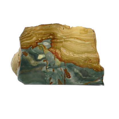 A gary green bog fossil piece with deep green and red tones that was cut and polished to stand on its own against a white background