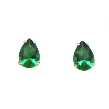 Emerald Obsidianite Pear Cut Sterling Silver Stud Earrings against a white background