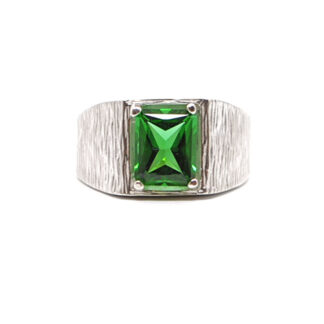 Emerald Obsidianite emerald cut Sterling Silver Ring with textured band against a white background