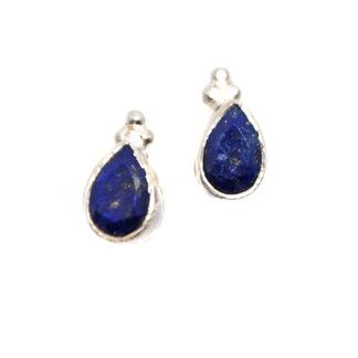 Lapis Lazuli Teardrop Sterling Silver Stud Earrings against a white background