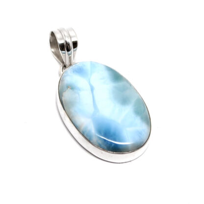 An oval larimar sterling silver pendant against a white background