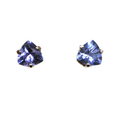 A pair of trilliant twilight obsidianite gemstone sterling silver stud earrings against a white background