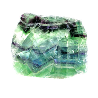 A rainbow fluorite slab with bright green and deep purple tones polished on both faces against a white background